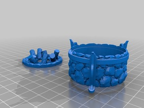 Large Stone Brazier / Bonfire - Tea Light - 28mm gaming (fixed)