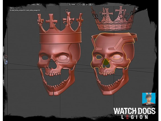 Watch Dogs Legion Dedsec Coronet Skull Mask By Twitte King Thingiverse