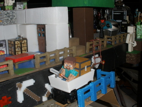 Mine Cart for LEGO Train scale to Minecraft toy Steve.