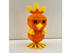 Low Poly Torchic - Multi color - Dual extruder - Multi material - Palette