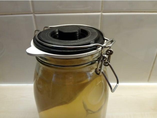 Fermentation lock for Ikea Korken (Weck) jar by Fr_3d