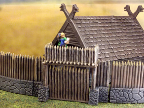 Fantasy viking palisade gate (28mm)