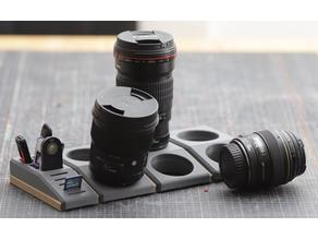 space-saving storage system for Canon lenses