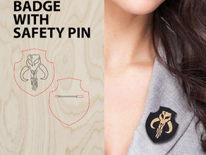 Wooden badge with safety pin
