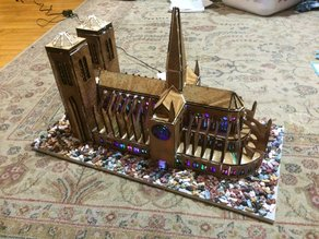 Laser cut Gingerbread Notre Dame cathedral